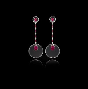 Medium fabio salini red earrings crystal with rubies diamonds rock crystal and white gold