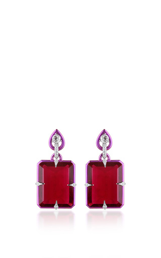 Medium fabio salini red earrings titanium with titanium rubellites emerald cut