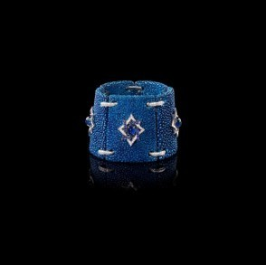 Medium fabio salini blue bracelet with diamonds and cabochon sapphires