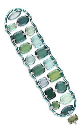 Bracelet In Titanium, White Gold, Green Tourmalines And Diamonds by FABIO SALINI for Preorder on Moda Operandi