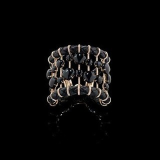 Medium fabio salini black cuff bracelet in pink gold and leather with onyx and diamonds