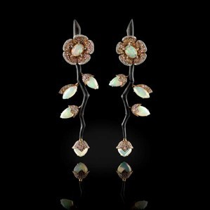 Medium fabio salini gold earrings fiore in white gold carbon fiber opals fancy sapphires and diamonds