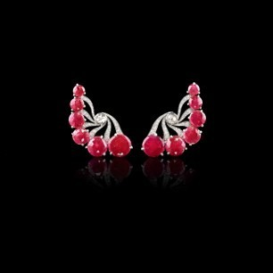 Medium fabio salini red earrings in gold rubies and diamonds