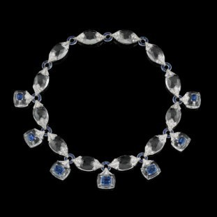 Medium fabio salini blue necklace crystal sapphires diamond and rock crystal