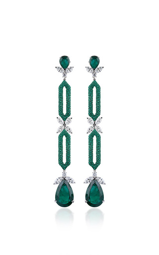 Medium fabio salini green earrings with emeralds and diamonds
