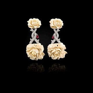 Medium fabio salini white earrings in white gold diamonds and rubies