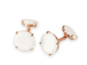 Medium fabio salini white cufflinks in pink gold and white agate
