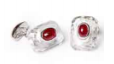 Medium fabio salini red cufflinks with rock crystal and rubies cabochon