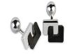 Medium fabio salini black cufflinks with carbon fiber and silver