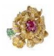 Medium anna hu yellow fantasy garden collection lady peony ring in ruby