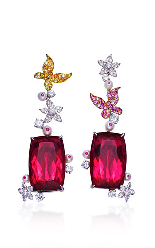 Butterfly Garden Collection  Butterfly Garden Earrings In Rubellite by ANNA HU HAUTE JOAILLERIE for Preorder on Moda Operandi