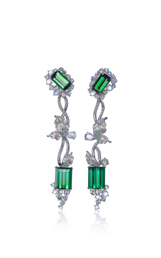 Athena's Laurel Collection  Athena's Laurel Earrings In Green Tourmaline by ANNA HU HAUTE JOAILLERIE for Preorder on Moda Operandi