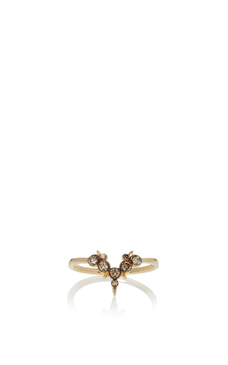 Medium didier dubot by julia restoin roitfeld gold single line ring with brown diamonds