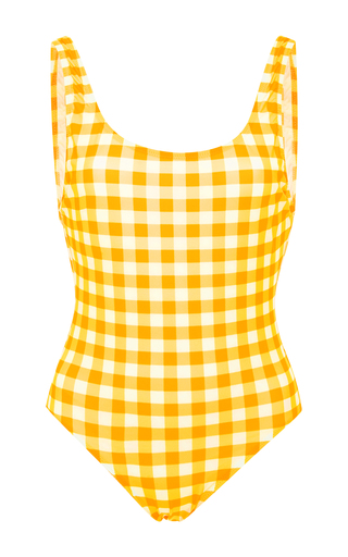 Medium solid striped plaid gingham one piece swimsuit