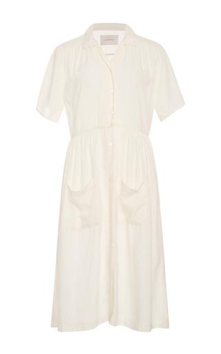 Medium solid striped white pocketed shirt dress