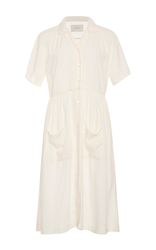 Medium solid striped white pocketed shirt dress