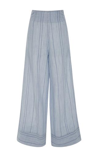 Medium solid striped blue striped wide leg pants
