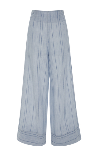 Medium solid striped blue striped wide leg pants