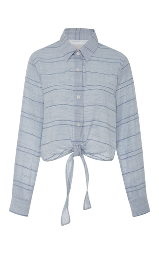 Medium solid striped blue taylor knotted striped shirt