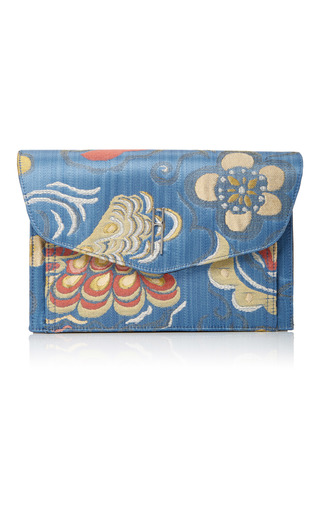 Medium hayward blue venetian silk brocade bobby clutch