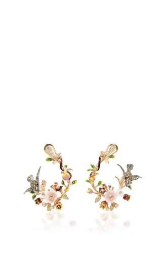 Medium anabela chan gold swallow garland earrings