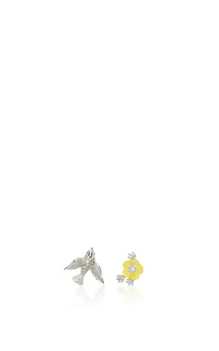 Medium anabela chan white white gold swallow studs