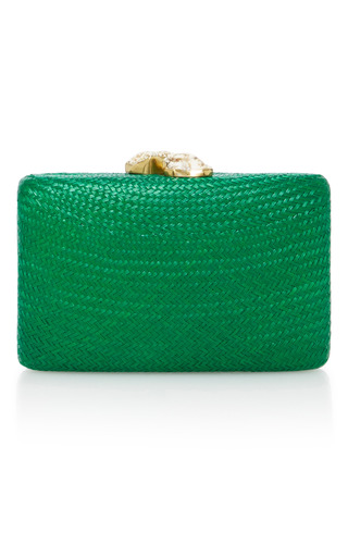 Medium kayu green jen straw clutch