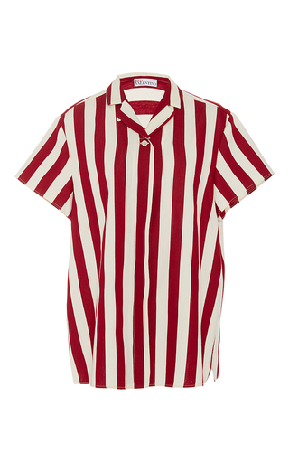 Medium red valentino stripe striped camp shirt