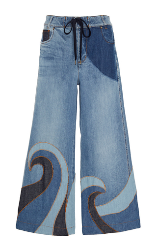 Medium red valentino blue sun and wave embroidered denim trousers