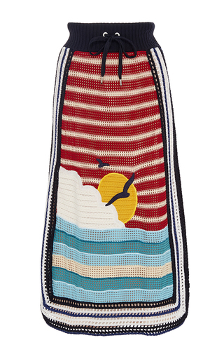 Medium red valentino multi sun and wave embroidered crochet skirt