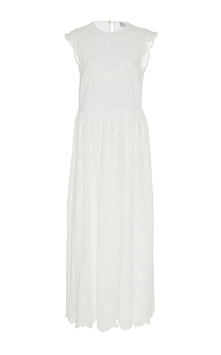 Medium red valentino white dress with floral embroidery