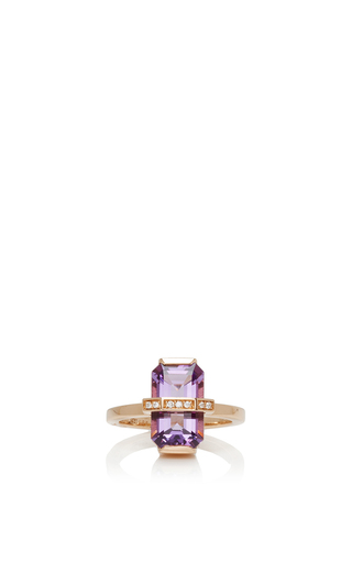 Medium efva attling purple 18k yellow gold little bend over ring