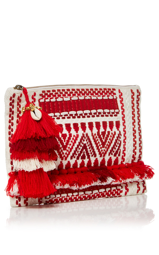 Red Sangita Zip Pouch by FIGUE for Preorder on Moda Operandi