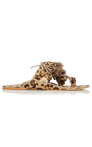 Leopard Haircalf Scaramouche Sandal by FIGUE for Preorder on Moda Operandi