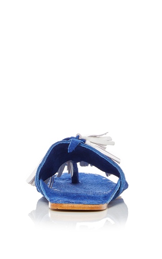 Blue Scaramouche Sandal by FIGUE for Preorder on Moda Operandi