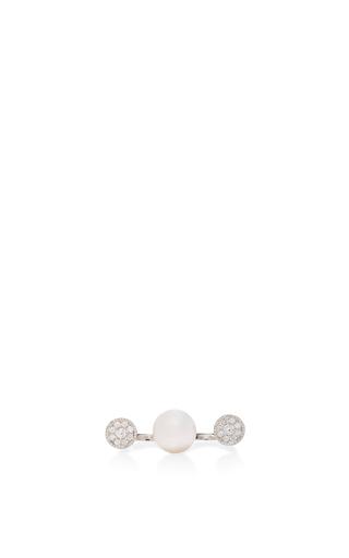 Medium yoko london white open pearl and diamond ring