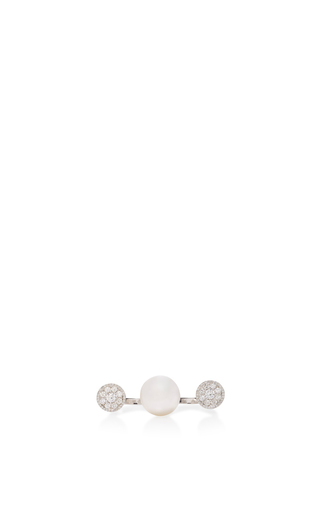 Medium yoko london white open pearl and diamond ring
