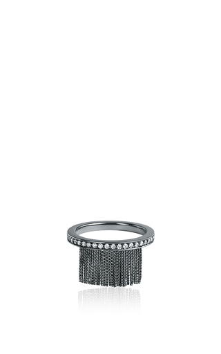 Love Ny Diamond Fringe Ring In White Gold And Black Rhodium With Diamonds by JACK VARTANIAN for Preorder on Moda Operandi