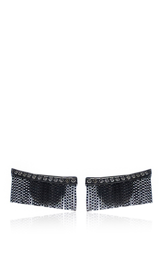 Medium jack vartanian black love ny fringe earrings in white gold and black rhodium with diamonds