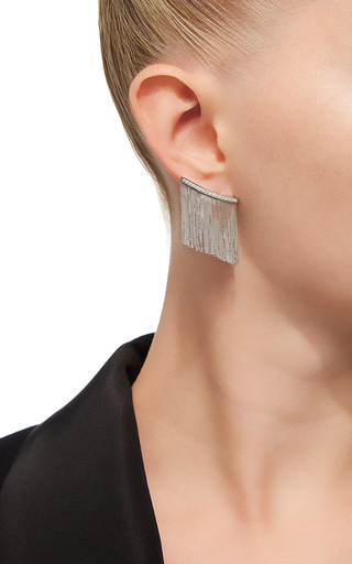 Love Ny Large Diamond Fringe Earrings In White Gold With Diamonds by JACK VARTANIAN for Preorder on Moda Operandi