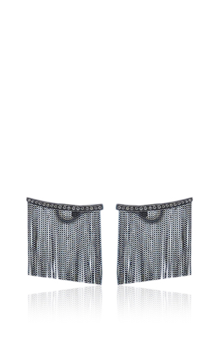 Medium jack vartanian black love ny large fringe earrings in white gold and black rhodium with diamonds