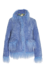 Jimi Flax Mongolian Fur Trim Coat by SAKS POTTS for Preorder on Moda Operandi