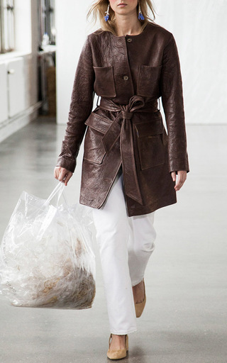 Beet Belted Leather Jacket by SAKS POTTS for Preorder on Moda Operandi