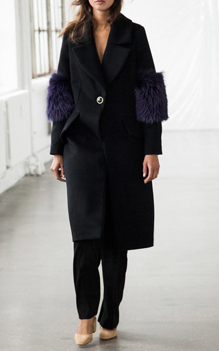 System Coat With Fox Sleeves by SAKS POTTS for Preorder on Moda Operandi