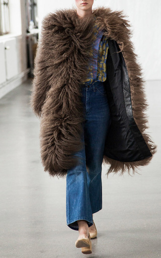 Two Tone Mongolian Fur Coat by SAKS POTTS for Preorder on Moda Operandi