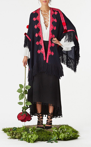 Fringe Embroidered Iris Shawl by FIGUE for Preorder on Moda Operandi