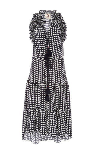 Medium figue print sleeveless dot print dress
