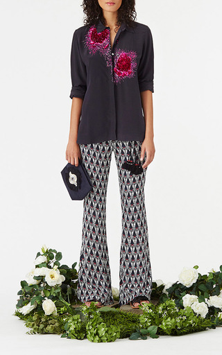 Beaded Emmanuelle Tux Shirt by FIGUE for Preorder on Moda Operandi