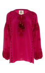 Embroidered Long Sleeve Serena Top by FIGUE for Preorder on Moda Operandi