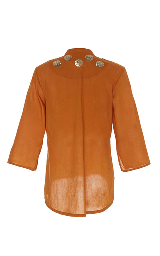 Ochre Sequin Embellished Jasmine Tunic by FIGUE for Preorder on Moda Operandi